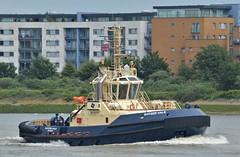 Svitzer Vale (2) @ Gallions Reach 02-06-18 (AJBC_1) Tags: riverthames northwoolwich newham londonboroughofnewham eastlondon london england unitedkingdom uk ship vessel boat dlrblog nikond3200 ©ajc shipsinpictures tug tugboat ajbc1 ukshipping svitzer woolwichreach svitzervale imo9831921 mmsi219023842 oxec2