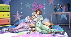 Sisterly Love (Vixxen Rainbow-Clowes) Tags: secondlife second life sl sweet innocent love sister sisterly vixxen rainbow clowes fiona dempsey stone jammies pjs pajamas pigtails pig tails cutsie binkies pacies pacifiers babygirl baby girl little daddy stuffy dolls teddy bear