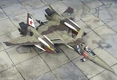 "Macross +++ 1:72 Stonewell/Belcom VF-4A ""Lightning III"", aircraft ""(7)01 Red"" of the VAT-127 ""Zentraedi Busters"" aggressor squadron; personal mount of Flight Leader Maxim Dadashov; Choir Flight Academy, Mongolia, 2016 (WAVE kit) (dizzyfugu) Tags: wave vf4 model kit wip lightning iii macross flash back 2012 review building painting anime mecha valkyrie vat127 zentraedi un spacy desert sand brown scheme aggerssor top gun training fictional aviation vf4a this is animation special plus choir tschoir mongolia leader flight academy fighter interceptor orbital canard wing ramjet red star regult pod emblem"