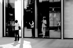 ....one two three four.... (christikren) Tags: one two three our austria blackwhite christikren fashion monochrome shadow wien shop street streetphotography candid mirror compositions women spiegelung lady mono