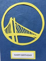 Warriors birthday card (artnoose) Tags: paper logo bay bridge state golden california bayarea oakland gold happy nba basketball team warriors card birthday letterpress yellow blue