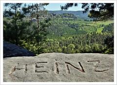 Heinz war auch schon da (https://www.norbert-kaiser-foto.de/) Tags: sachsen saxony sächsischeschweiz saxonswitzerland elbsandsteingebirge elbesandstonemountains sandstein sandstone felsen groserbärenstein aussicht wald natur landschaft nature landscape inschrift heinz
