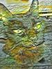 Assam with Some Processing (sjrankin) Tags: 17june2018 june2016 animal cat assam edited processed filtered closeup kitchen floor table yubari hokkaido japan