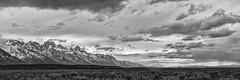 Edge of the Storm - Wyoming (petechar) Tags: charlesrpeterson petechar landscape panorama mountains grandtetons grandtetonnationalpark wyoming albrightviewturnout sky rain clouds skyscape panasonicg9 highresolutionmode leica1260 tripod blackandwhite monochrome