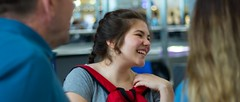 a smile to the past (ege.eminol.34) Tags: smile excited family abroad airport goodbye laugh happy mood bag travel portrait cinemoscope moment beautiful girl
