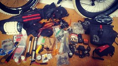 Organising equipment and spares for the Christini fatbike for the Finke River expedition