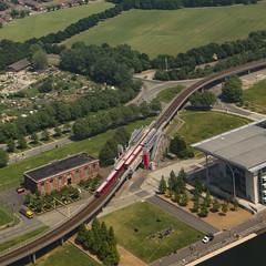 Royal Albert DLR Station (London Less Travelled) Tags: uk unitedkingdom england britain london birdeye aerial new ham royalalbert docks dockland rail lightrail dlr transport publictransport
