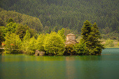 Church of Agios Fanourios in Lake Doxa.. (ckollias) Tags: church architecture beautyinnature builtstructure day forest greece greencolor lake lakedoxa land mountain nature nopeople nonurbanscene outdoors pinetree plant reflection scenicsnature tranquilscene tranquility tree water woodland