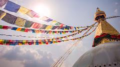 Holy Flag! (Marc Bremus) Tags: nepal kathmandu himalayas lenseflair prayerflags pagoda gold land landscape colors eyes sunshine