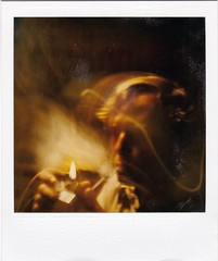 Pipe Dream (ricko) Tags: polaroid film scan old pipesmoker about1983 flame pipe fire