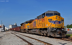 "UP Rock Train in Kansas City, KS (""Righteous"" Grant G.) Tags: up union pacific railroad railway locomotive train trains ge emd power rock unit kansas city mkt yard"