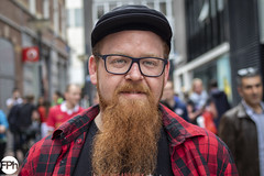 Nick (Frankhuizen Photography) Tags: nick red rood baard beard shirt street straat eindhoven netherlands nederland people fotografie photography portret portrait smile glimlach colour color posed stranger geposeerd man bril glasses hat pet
