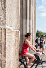 Brandenburg Gate (Francis Mansell) Tags: brandenburgertor cyclist woman column berlin germany blur bokeh dof depthoffield building architecture gateway bicycle vehicle