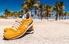 Just do it, in Key Biscayne. (catrall) Tags: keybiscayne florida miami 2018 sneakers yellow blue white green palm palmtree beach nike justdoit nikeinternationalist nikon d750 dslr sigma sigmalens 24105