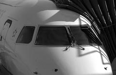 Workplace Romance (Jersey JJ) Tags: workplace romance aircraft airline airplane cockpit glass windows bw