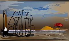 Playa de Valencia (Amparo Higón) Tags: valencia digitalpainting digitalart kunst artwork creativity kreativität beach coreldraw bluesky people modernerkunst modernart artecontemporáneo