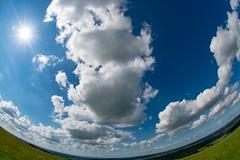 The Sky through a Fisheye (Evoljo) Tags: uffington sun fisheye sky blue oxfordshie view clouds nikon d500