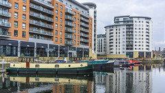 Leeds dock (chaotic river) Tags: dock boats narrow dutch barge flats offices waterside apartment reflection city leeds yorkshire uk