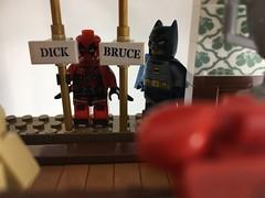 2018-155 - Batpoles (Steve Schar) Tags: 2018 wisconsin sunprairie iphone iphone6s project365 lego minifigure deadpool batman batcave batpoles waynemanor