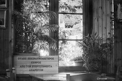 the owner of the restaurant is a philosopher (christinehag) Tags: monochrome windows indoor sign signe blackandwhite intérieur fenêtres