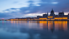 Budapest Parliament with reflection at Danube River (HansPermana) Tags: budapest hungary magyar ungarn city cityscape danube architecture beautiful longexposure bluehour lights parliament march 2018 spring eu europe europa centraleurope reflection water