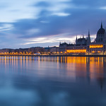 Budapest Parliament with reflection at Danube River thumbnail