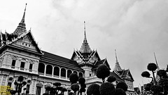 ..cloudy morning over the Throne Hall.. (Ferry Octavian) Tags: canon eos 750d rebel t6i dslr landscape street shot travel trip outdoor noflash handheld explore efs 1855 stm monochrome mono bw black white grey greyscale blackandwhite sun sky skyline horizon cloud cloudy wide thailand thai bangkok capital city asia south east sea southeast traditional culture grandpalace palace king throne kingdom beautiful exterior decoration carving architecture queen thronehall icon landmark historic history chakrimahaprasat chakri dynasty structure building 1878