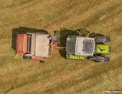 Down on the farm, bailing. (Steve Samosa Photography) Tags: billinge england unitedkingdom gb farming farmland farmer topdownview aerial aerialview aerialphotography aerialshot dronecamera drone droneshot droneview baler bailing silage