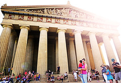 The Parthenon in Nashville (kirstiecat) Tags: nashville parthenon tennessee america people strangers lensflare cinematic cinematiclensflare architecture greek ethereal mood atmosphere mother child children parents