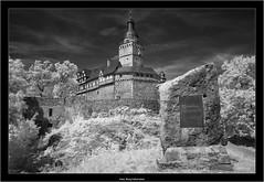 Harz: Burg Falkenstein (Dierk Topp) Tags: bw burgfalkenstein bäume ir sonya7r sonya7rir architecture harz infrared infrarot monochrom sw sony trees