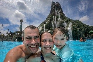 The Wife, Goddaughter and I at Volcano Bay, Florida