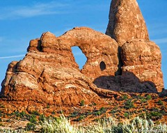 Close-up, Turret Arch at Arches National Park, Utah (PhotosToArtByMike) Tags: archesnationalpark turretarch windowssection moabutah arches moab utah ut sandstone sandstoneformations rockformations