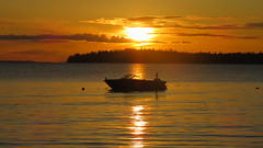 Sunset over the Salish Sea (Mitzi Szereto) Tags: pacificnorthwest salishsea birchbay seaside coast beach boat outdoors washingtonstate washington whatcomcounty scenic sunset peaceful bay nature coastal rosepetal