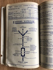 Eastern National Omnibus Company - diagram for routes 51/53 showing connections - 1950 (mikeyashworth) Tags: enoc easternnationalbusroutes 1950 busroutediagram mikeashworthcollection essex tilburyferry grays brentwood chelmsford colchester witham kelvedon manningtree dovercourt harwich clactononsea