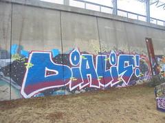 314 (en-ri) Tags: dialis hits crew viola giallo bianco nero blu parco dora torino wall muro graffiti writing