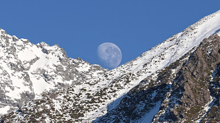 Moonset over Mt Sealy's slopes