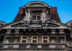 2018 - Romania - Bucharest - Old Town (Ted's photos - Returns 23 Jun) Tags: 2018 bucharest nikon nikond750 nikonfx romania tedmcgrath tedsphotos vignetting bucharestromania windows arches doors railing bluesky blue