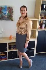 Welcome to the working week... (Rikky_Satin) Tags: silk satin ruffles blouse pencil skirt pumps tstrap crossdresser transvestite transformed office gurl tgirl tgurl sissy secretary
