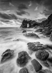 Arch Of The Kings B&W. (dasanes77) Tags: canoneos6d canonef1635mmf4lisusm tripod landscape seascape cloudscape shoreline rocks dynamic blackandwhite clouds sea ocean waves longexposure arch vertical contrast murcia archofthekings