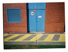 195 (@fotodudenz) Tags: fuji fujifilm ga645w ga645wi kodak portra 160 wide angle medium format film camera point and shoot cook melbourne victoria australia 2018 blue door window red brick yellow paint painted lines 28mm 45mm raaf base williams royal australian air force museum