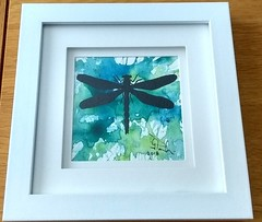 Dragonfly... (GP1805) Tags: draw drawing drawings art artwork artist sketch watercolor watercolour derwent winsorandnewton ink inkdrawing dragonfly blue green yellow fabercastell