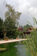Ruhpolding - Kurpark (1) (Pixelteufel) Tags: ruhpolding bayern bavaria alpen tourismus ortsmitte ortskern park parkanlage kurpark brunnen brunnenanlage wasser wasserspiel wasserspeier schilf birke wolken regenwolken