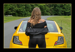 "Nicole and ""Jupiter"" (Peter Camyre) Tags: quabbin reservoir summer photoshoot nicole jupiter girl car lady friend people female model black gold yellow scion tc cars canon camera peter camyre photography beautiful image pretty pose posing poses with her shoes heels sexy killer"