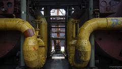 Tubes (frankdorgathen) Tags: landschaftsparkduisburg duisburg ruhrgebiet ruhrpott industry industrie tube röhre rohr yellow gelb symmetrie industrialcomplex