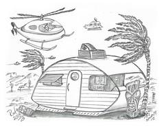 Tiki Security (rod1691) Tags: myart art sketchbook bw scfi grey concept custom car retro space hotrod drawing pencil h2 hb original story fantasy funny tale automotive illustration greyscale moonpies sketch sexy