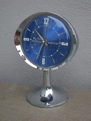 Retro 1970's Mid Century Westclox Big Ben Chrome Space Age Pedestal Alarm Clock Electric Blue Face (beetle2001cybergreen) Tags: retro 1970s mid century westclox big ben chrome space age pedestal alarm clock electric blue face