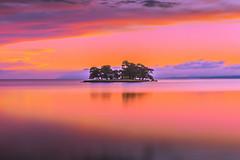 sunset 7941 (junjiaoyama) Tags: japan sunset sky light cloud weather landscape purple orange pink contrast color bright lake island water nature summer calm reflection