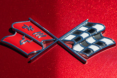 Corvette Stingray Emblem (jeff's pixels) Tags: transportation macromondays nikon d850 macro car auto emblem corvette chevrolet flag racing