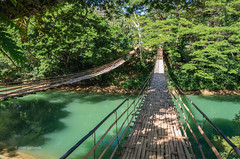 Double Bamboo Bridge (pietkagab) Tags: bamboo bridge double hanging water river forest bohol philippines asia asian southeast green day daylight pietkagab photography pentax pentaxk5ii piotrgaborek travel trip tourism sightseeing adventure nature