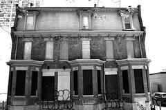 Abandoned Three Storey Rowhouse .... 189 / 191  / 193 Mutual Street .... Toronto, Ontario (Greg's Southern Ontario (catching Up Slowly)) Tags: abandoned derelict torontoist abandonedbuildingtoronto derelictbuildingtoronto 189191193mutualstreet monochrome blackandwhitephotography